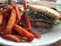 Organic chicken club with avocado and sweet potato fries at Books & Books