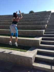 The steps we use for squat jumps. They're quite deep so it makes for a high and long jump.